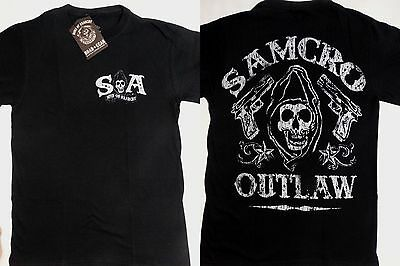 Sons Of Anarchy Tv Show Samcro Outlaw Reaper Guns T Shirt Nwt