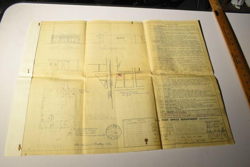"VTG Atlanta USPS Epherma Post Office Blueprints 1960 24"" x 18"""