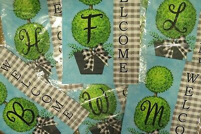 Initial Garden Flags (Monogram / CHOOSE Your Initial Black White Check, Topiary Letter Garden)