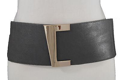 New Women Hip Waist Gold Metal Buckle Wide Gray Elastic Fashion Belt Plus M L XL