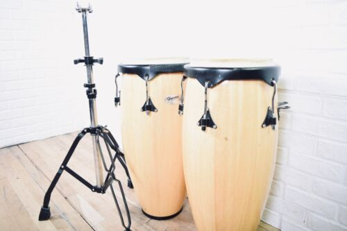 Mountain Rhythm Congas percussion drums with dual stand in excellent condition