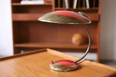 TRUE VINTAGE Rockabilly SCHREIBTISCHLAMPE Lampe Leuchte 60er Messing rot gold