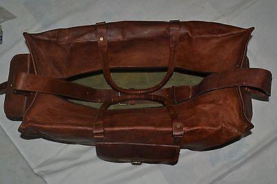 New Men's duffel Lightwieght genuine Leather large vintage travel gym Squre bag