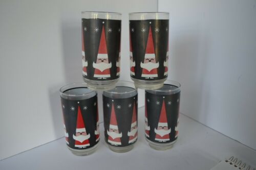 5 VINTAGE LIBBEY HOLT HOWARD SANTA CLAUS DRINKING GLASSES TUMBLERS CHRISTMAS CUP