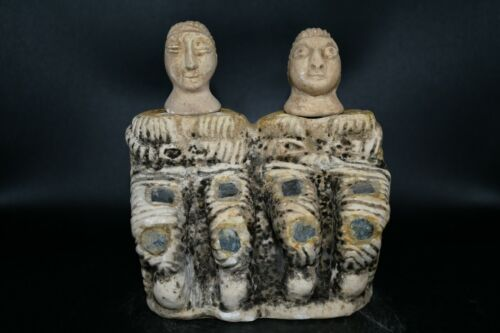 Large Ancient Bactrian Stone Composite Idol Statue of Two Goddess Seated