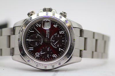 Mens Tudor Tiger Prince Date Chronograph Watch 79260P Burgundy Dial
