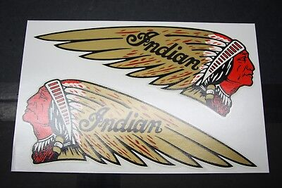 """INDIAN Motorcycle TANK DECALS - """"RED FACE"""" Chief WATER SLIDE - USA MADE! NEW"""
