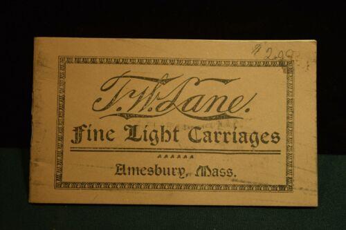 T.W.Lane Catalog Horse Drawn Antique  Buggy Wagons Horses Harness Amesbury Mass.