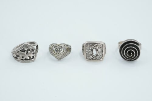 LOT of 4 Sterling Silver Scroll & Spiral Design Rings, 31.5g