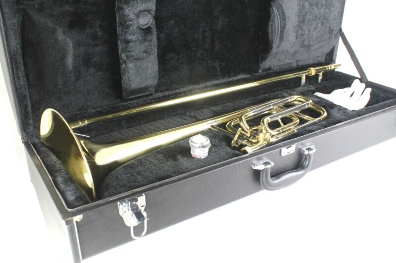 TENOR  TROMBONE  Bb with F Trigger Attachment  Brass  Gold Lacquer with Case