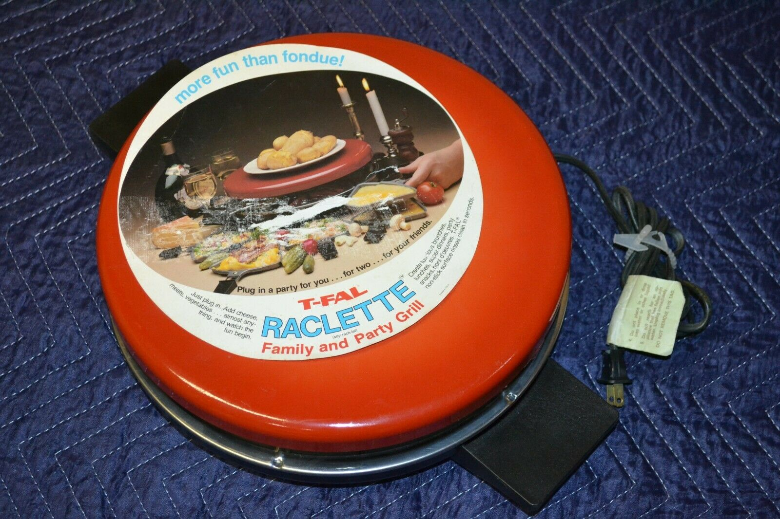 VTG T-FAL Tefal Orange Raclette Swiss Style Cheese Grill, Ma