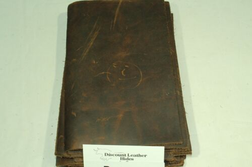 """Oil Finish Thick Brown Craft Leather Piece 5"""" X 8"""" P80"""