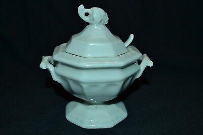 Salt Dispenser Table Top White Ceramic Spoon
