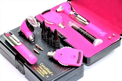 Cynamed Professional Grade Led Fiber Optic Otoscope Ophthalmoscope Ent Set-pink