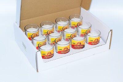 Memorial Yahrzeit Candles Unscented Clear Glass Votive  - 24 Hour Burn Time.  - Memorial Glass