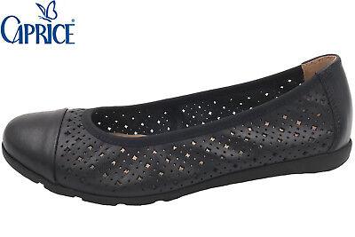 Ocean Leder Schuhe (Caprice Damen Ballerina Blau Echt Leder Ocean Nappa Slipper Schuhe NEU 22151)