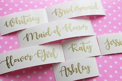 Custom Name Stickers, Bridesmaid Party Gift Box Decals, Wine Glass Stickers 221](Small Plastic Wine Glasses)