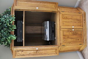 Solid oak corner entertainment unit