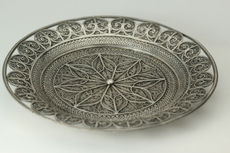 Beautiful Antique Silver Toned Unmarked Filigree Plate 47.5 Grams (ANT3142)