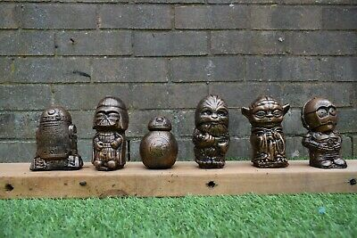 Star Wars R2,BB8,Chewy,Vader,Yoda & C3-PO Garden Ornaments-Bronze -Free UK P&P!!
