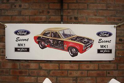 Ford Escort Mexico mk1 Color Grande PVC Bandera Garaje Trabajo Tienda Clásico