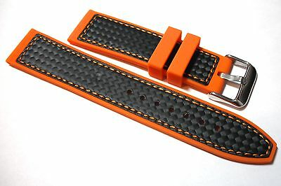 Premium Orange Silicon Rubber + 'Carbon Fibre' Watch Strap 20mm, 22mm or 24mm.