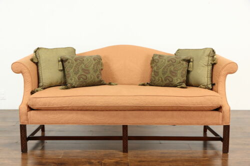 Georgian Chippendale Vintage Mahogany Sofa, Recent Upholstery #36836