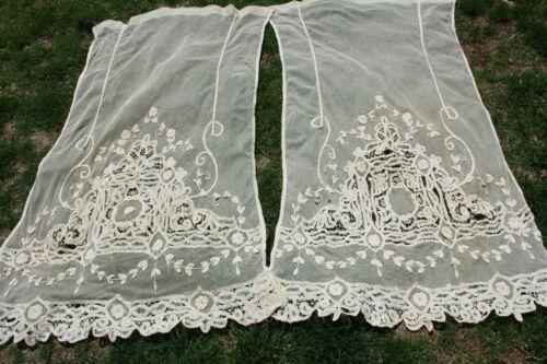 Antique Lace Curtain Panels Tambour Tape Lace Flower Applique
