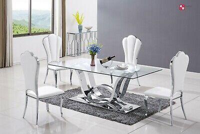 Diseñador Mesa de Comedor Acero Inox. Templado Vidrio Mesa Comedor 180x90 CM