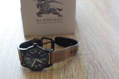 Burberry Military Black Dial Tan Leather Strap Men's Watch $495