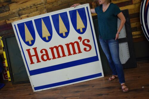 Large Hamms Beer Sign Vintage Embossed Metal Advertising Pub Bar Stout Sign