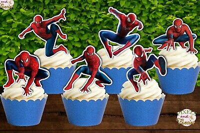 Set of 12 SPIDERMAN Cupcake Toppers, Cupcake Picks, Cupcake Decorations
