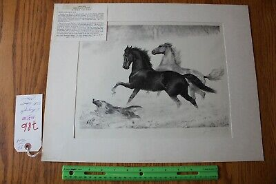 George Ford Morris Signed Lithograph Snow Frolic Horses and Dog running -