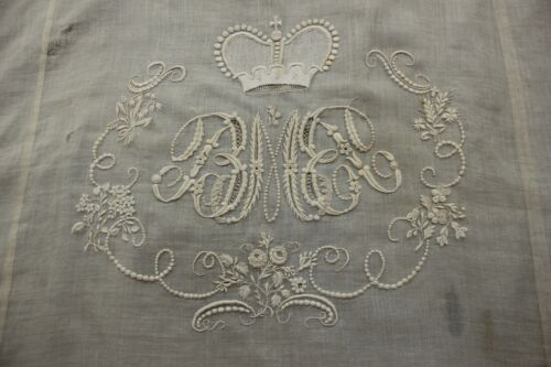 Late 18th Early 19thC Antique Embroidered Silk Whitework Coverlet - Royalty