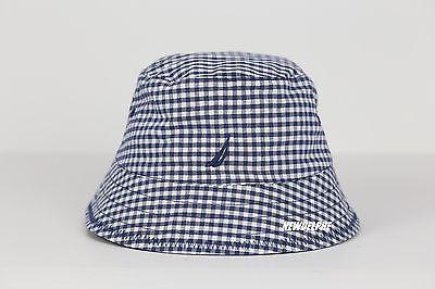 NWT NAUTICA MEN & WOMEN LOGO BUCKET HAT CAP CHECK/NAVY REVERSIBLE 100% COTTON