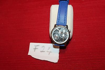 Armitron Mens  Steel Watch With Sub Dial And Blue Leather Strap   20 1183 F24
