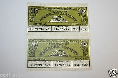 Wow Vintage 1974 Msl The State Of Michigan Lottery Ticket Lot Of 2 Rare