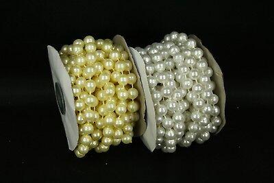 Faux Pearl Beads Bulk (10mm String Faux Pearl Beads Garland  (3 Spools - 54 Feet Total) BULK)