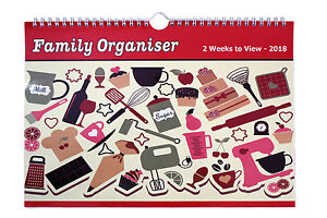 2018 Calendar FAMILY ORGANISER /PLANNER  Two Week View -  Kitchen cupcake Cover