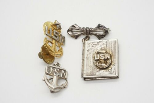 WWII Sterling Navy Chief Insignia & Photo Locket Sweetheart Pin Lot Of 3