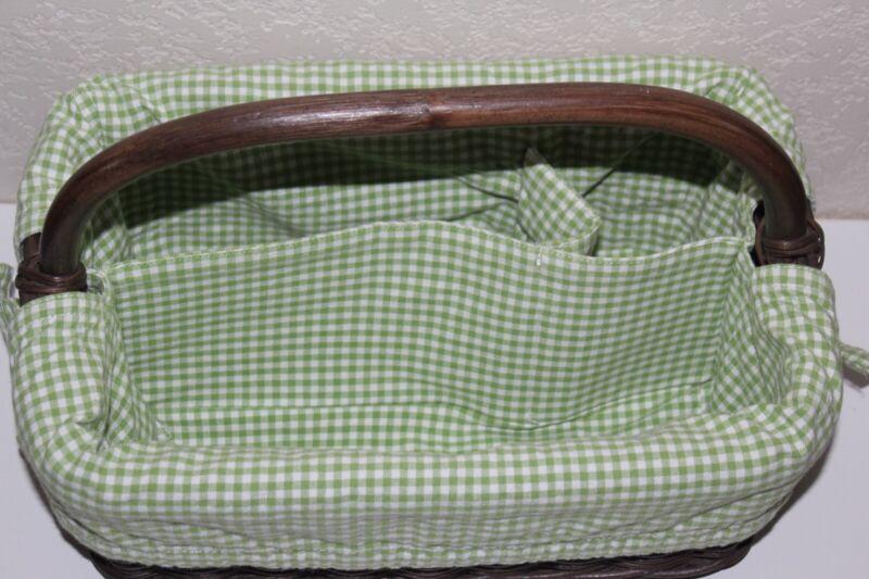 Pottery Barn Diaper Caddy Basket Green Gingham Liner