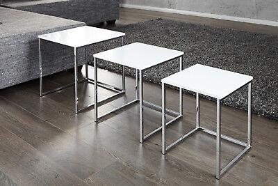 Design Beistelltisch modern 3er Set 40cm Hochglanz weiß chrom Couchtisch Tisch - Chrome Moderne Beistelltisch
