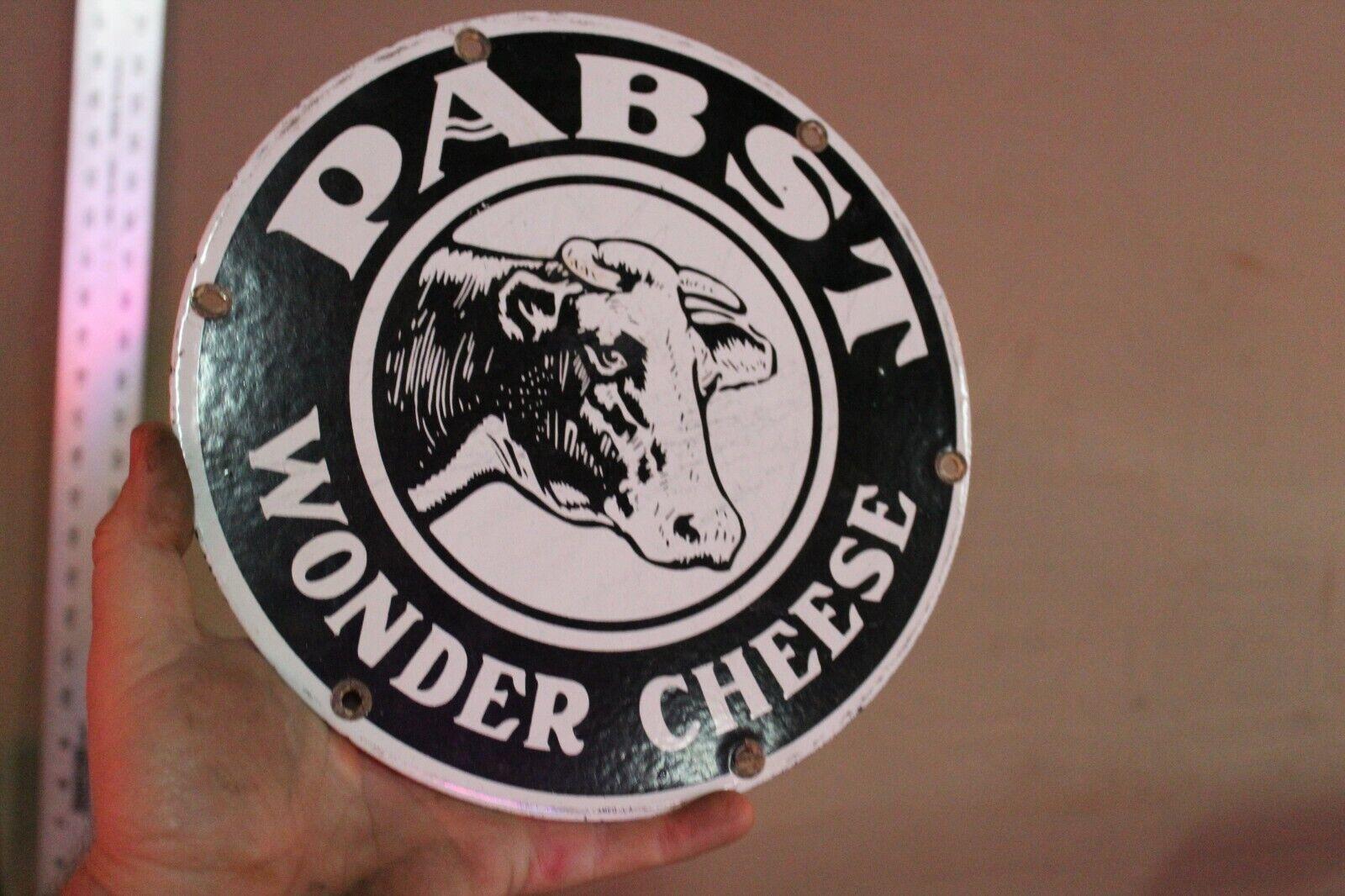 PABST WONDER CHEESE PORCELAIN METAL DEALER SIGN COW BEER MILWAUKEE GAS FARM BARN - $18.21