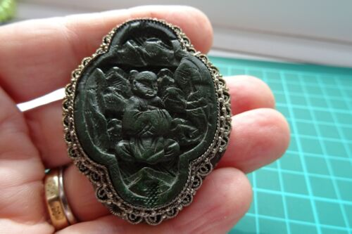 Antique Chinese Buddha brooch, pressed leather and white metal- marked China
