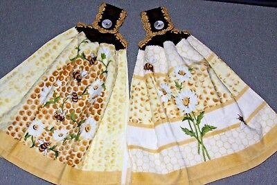 Double Hanging - Double Hand Crochet Hanging Kitchen Premium Towels- Honey Bees