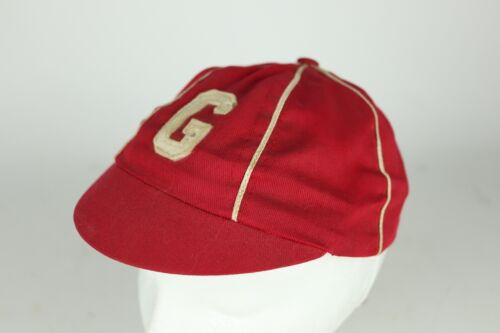 "Vintage Youth Size Large Red Cotton Baseball Uniform Hat Cap ""G"" Team Initial"