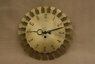 VINTAGE SMITHS BRASS FACED 2 DAY MANUAL WIND WALL CLOCK