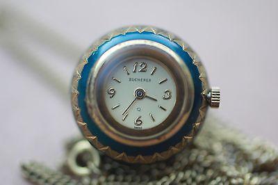 Vintage Bucherer Blue Enamel Ball Watch Swiss Pendant Necklace Free Shipping