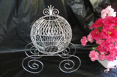 Silver Wire Cinderella Carriage for Wedding or Birthday Centerpiece