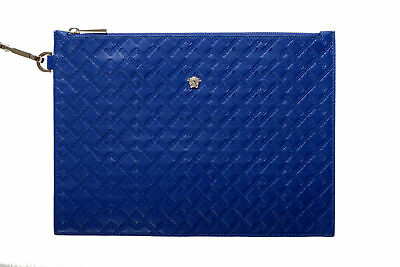 Versace Women's Blue Textured Leather Clutch Handbag